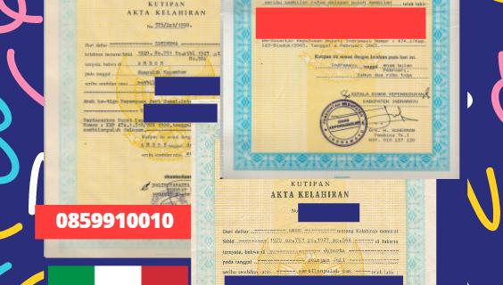 Jasa Legalisir Akta Lahir Indonesia di Basilicata – Italia    08559910010