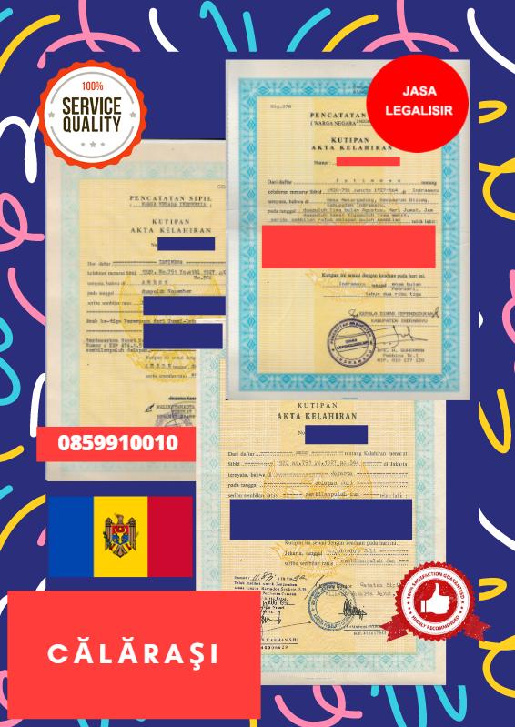 Jasa Legalisir Akta Lahir Indonesia di Călăraşi - Moldova    08559910010