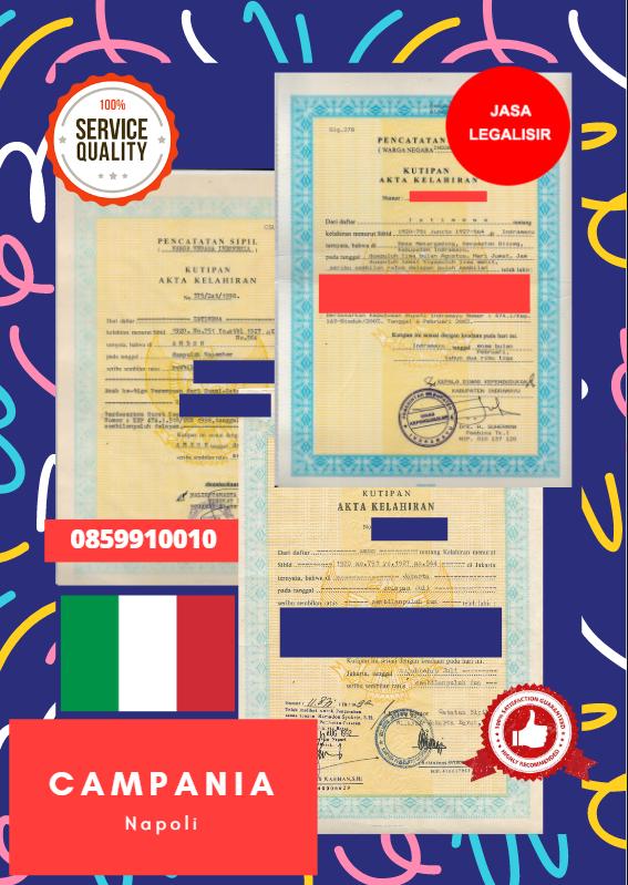 Jasa Legalisir Akta Lahir Indonesia di Campania - Italia    08559910010