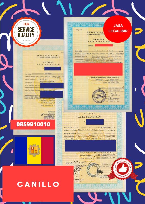 Jasa Legalisir Akta Lahir Indonesia Di Canillo - Andorra || 08559910010