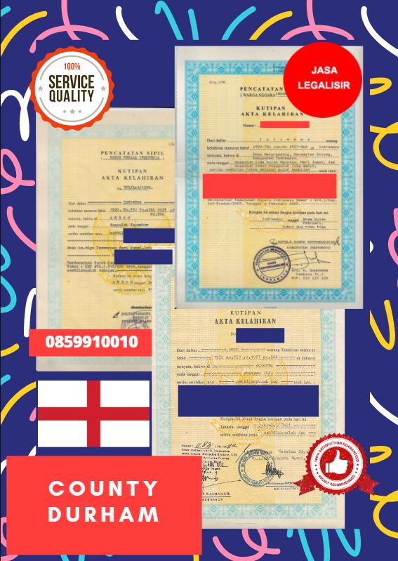 Jasa Legalisir Akta Lahir Indonesia di County Durham - Inggris || 08559910010