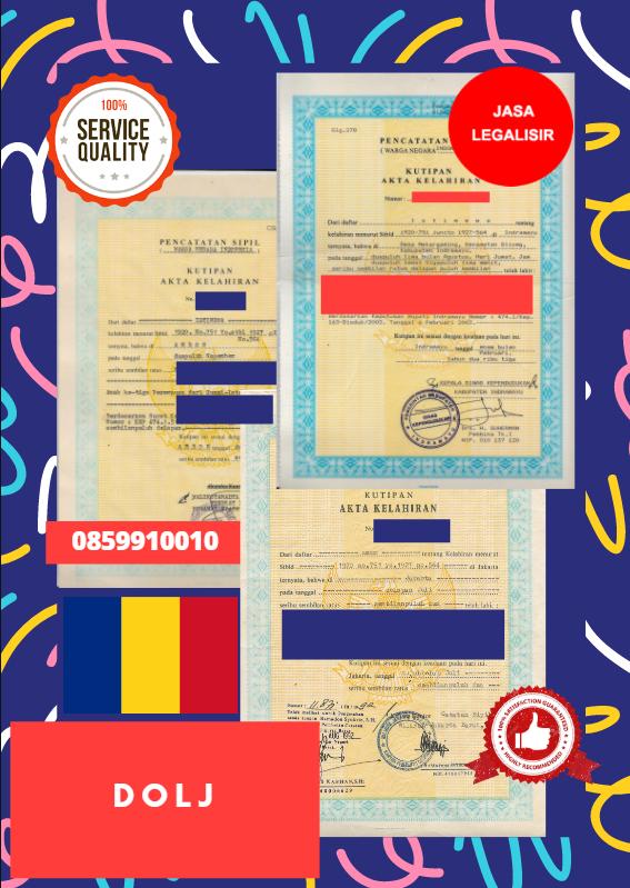 Jasa Legalisir Akta Lahir Indonesia di Dolj - Romania || 08559910010