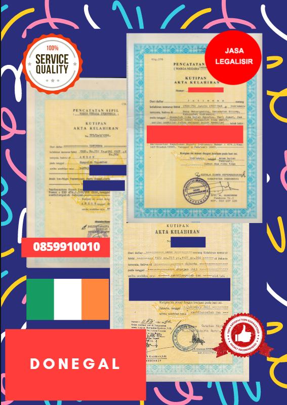 Jasa Legalisir Akta Lahir Indonesia di Donegal - Irlandia    08559910010