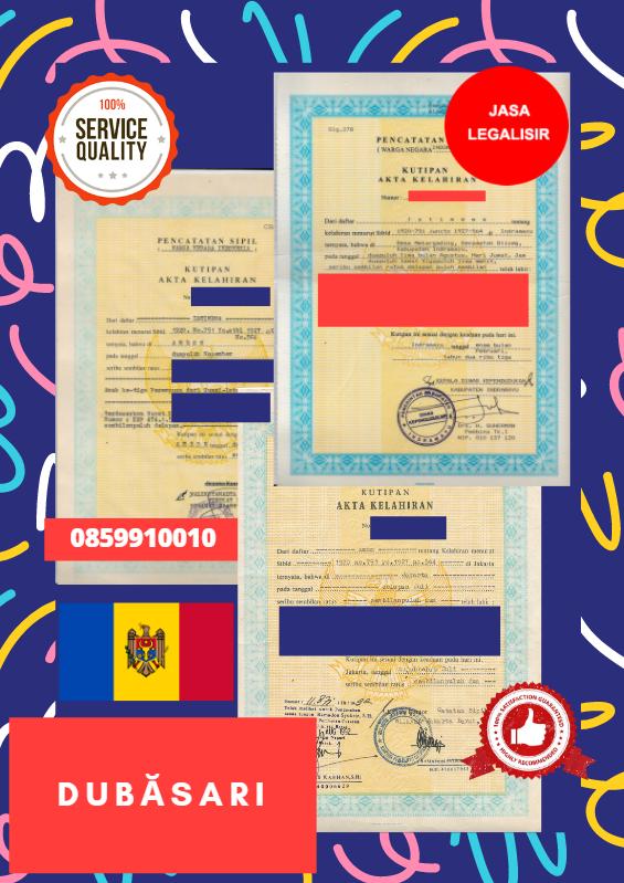 Jasa Legalisir Akta Lahir Indonesia di Dubăsari - Moldova || 08559910010