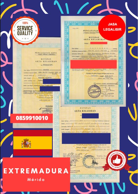 Jasa Legalisir Akta Lahir Indonesia di Extremadura - Spanyol    08559910010
