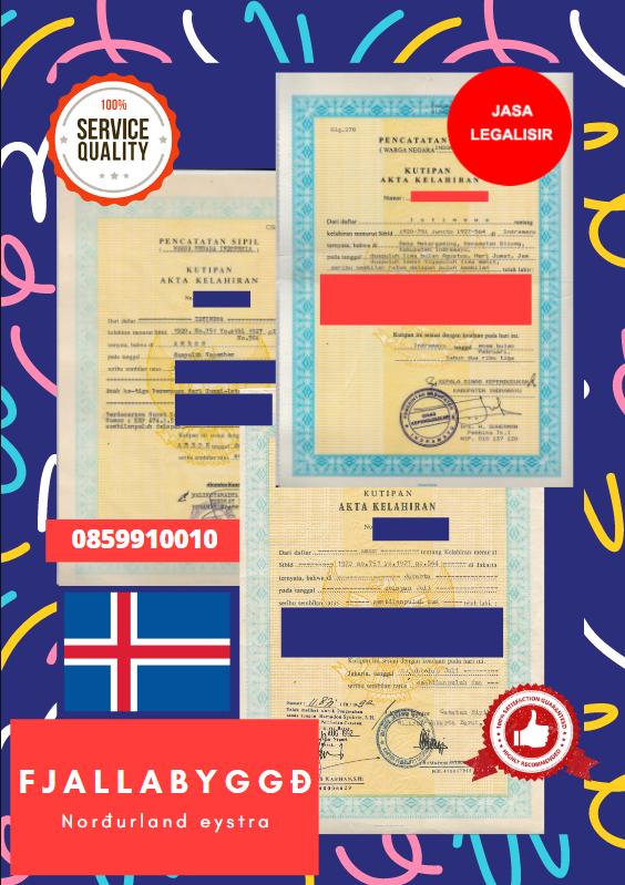 Jasa Legalisir Akta Lahir Indonesia di Fjallabyggð - Islandia    08559910010