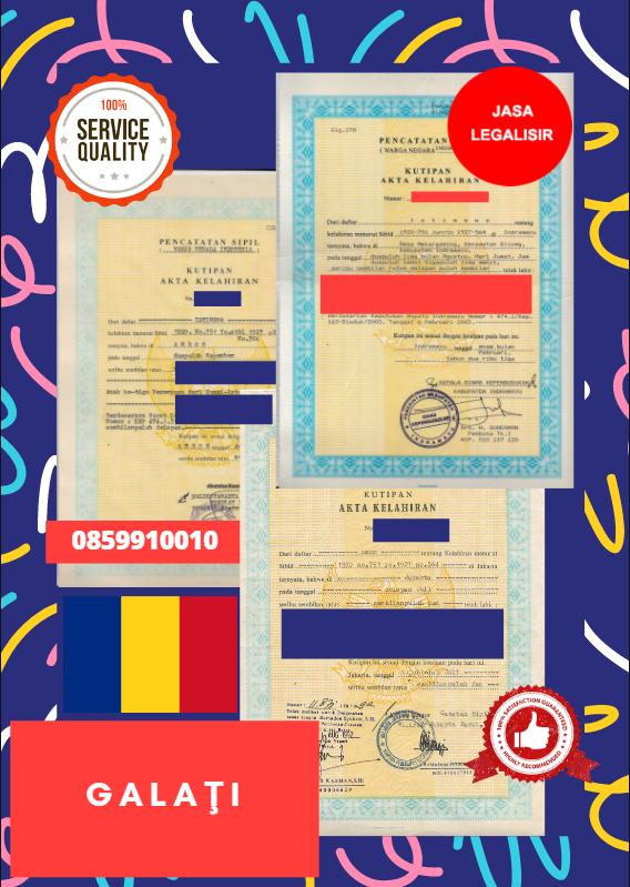 Jasa Legalisir Akta Lahir Indonesia di Galaţi - Romania    08559910010