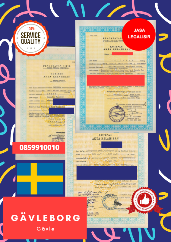 Jasa Legalisir Akta Lahir Indonesia di Gävleborg - Swedia || 08559910010