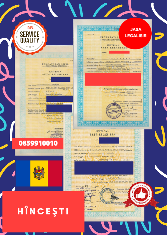 Jasa Legalisir Akta Lahir Indonesia di Hînceşti - Moldova    08559910010