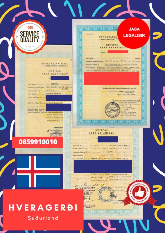 Jasa Legalisir Akta Lahir Indonesia di Hveragerði - Islandia    08559910010