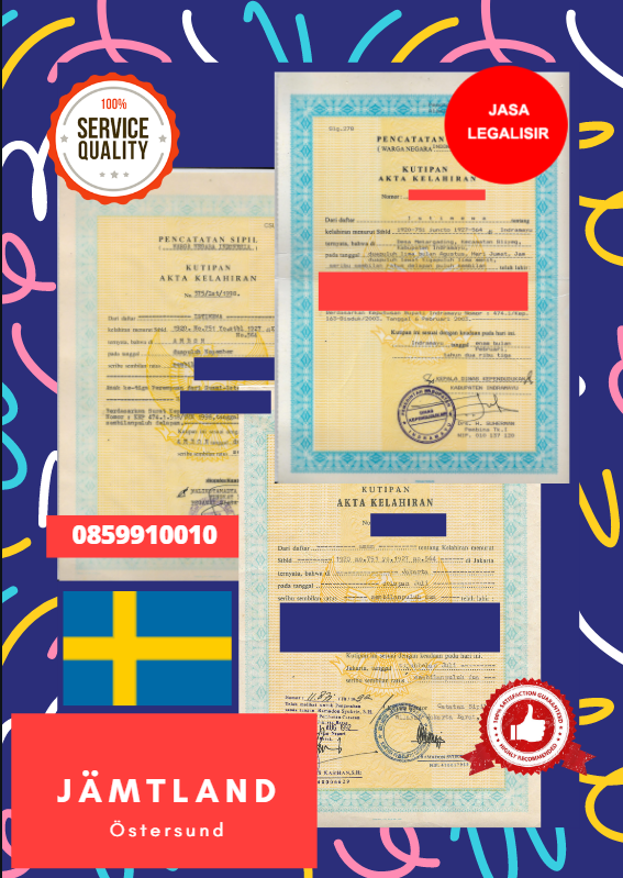 Jasa Legalisir Akta Lahir Indonesia di Jämtland - Swedia || 08559910010