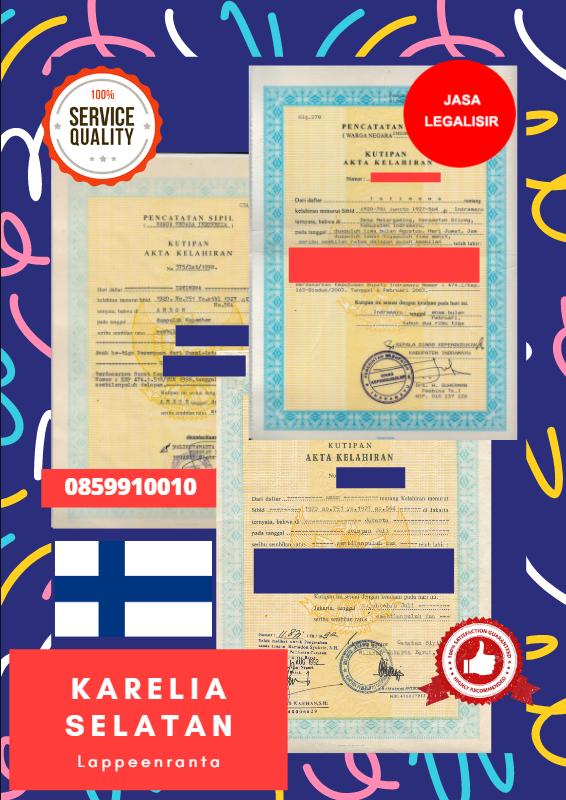 Jasa Legalisir Akta Lahir Indonesia di Karelia Selatan - Finlandia    08559910010