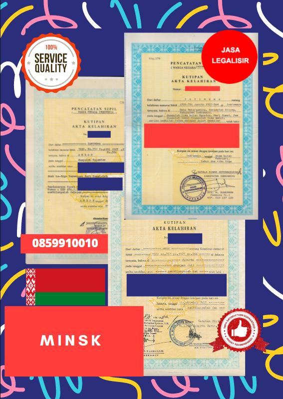 Jasa Legalisir Akta Lahir Indonesia Di Minsk - Belarus    08559910010