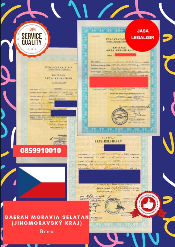 Jasa Legalisir Akta Lahir Indonesia di Daerah Moravia Selatan (Jihomoravský kraj) - Ceko || 08559910010