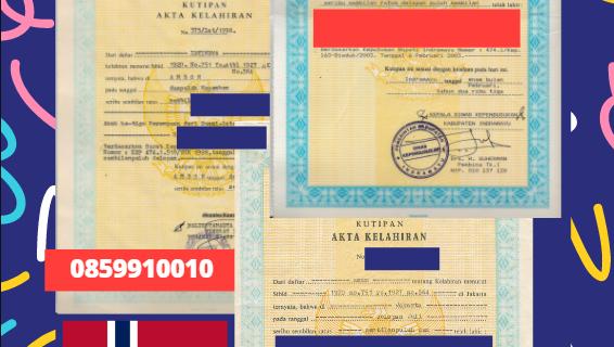 Jasa Legalisir Akta Lahir Indonesia di Bodø – Norwegia    08559910010