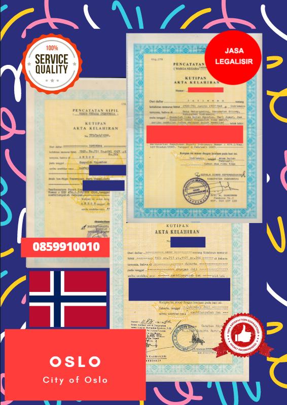 Jasa Legalisir Akta Lahir Indonesia di City of Oslo - Norwegia    08559910010
