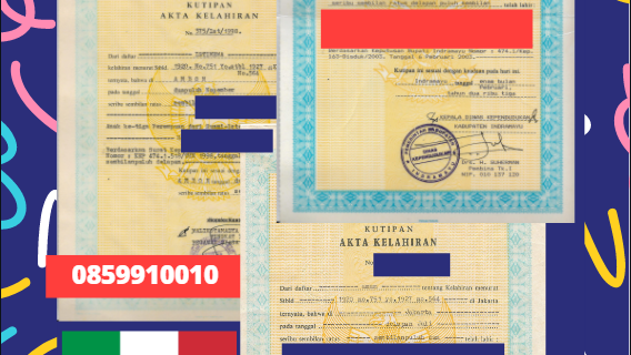 Jasa Legalisir Akta Lahir Indonesia di Cagliari – Italia || 08559910010