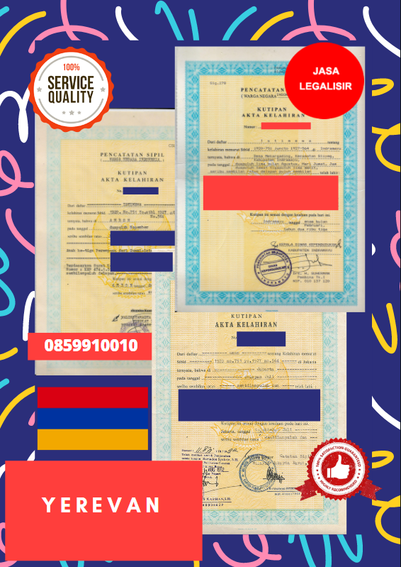 Jasa Legalisir Akta Lahir Indonesia Di Yerevan - Armenia    08559910010
