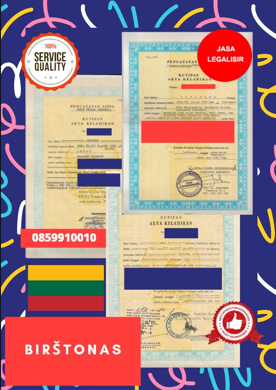 Jasa Legalisir Akta Lahir Indonesia Di Birštonas - Lithuania    08559910010