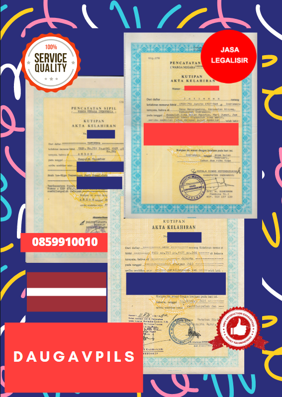 Jasa Legalisir Akta Lahir Indonesia Di Daugavpils - Latvia    08559910010