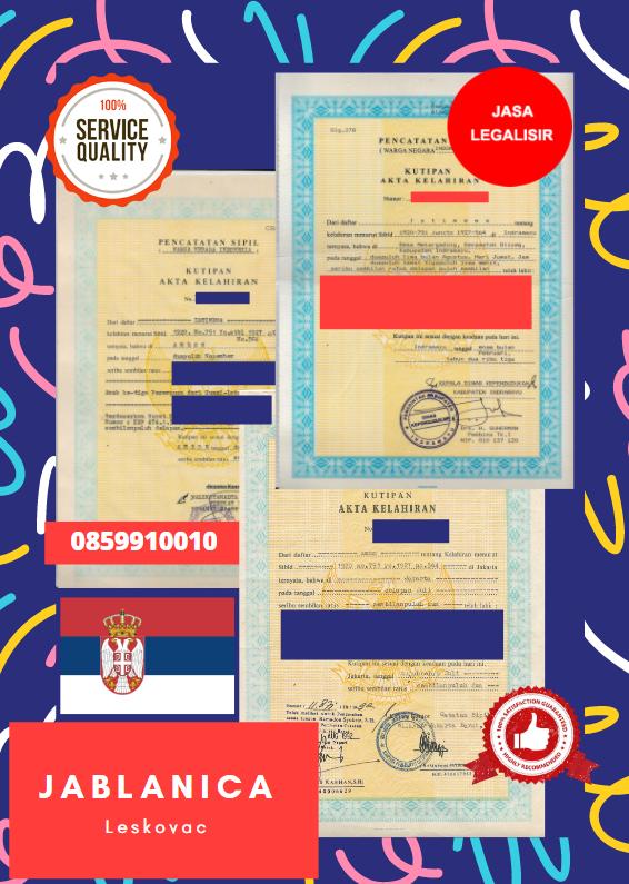 Jasa Legalisir Akta Lahir Indonesia Di Jablanica - Serbia    08559910010