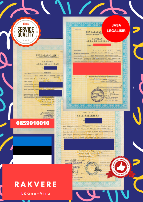 Jasa Legalisir Akta Lahir Indonesia Di Rakvere - Estonia    08559910010