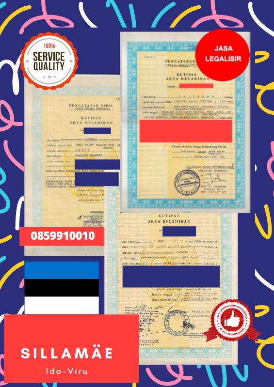 Jasa Legalisir Akta Lahir Indonesia Di Sillamäe - Estonia    08559910010