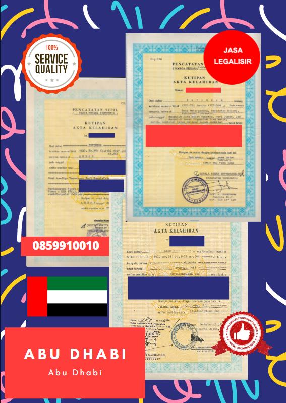 Jasa Legalisir Akta Lahir Indonesia Di Abu Dhabi - Uni Emirat Arab || 08559910010