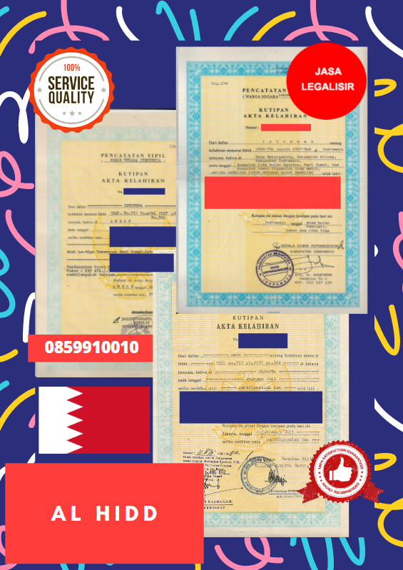 Jasa Legalisir Akta Lahir Indonesia Di Al Hidd - Bahrain || 08559910010