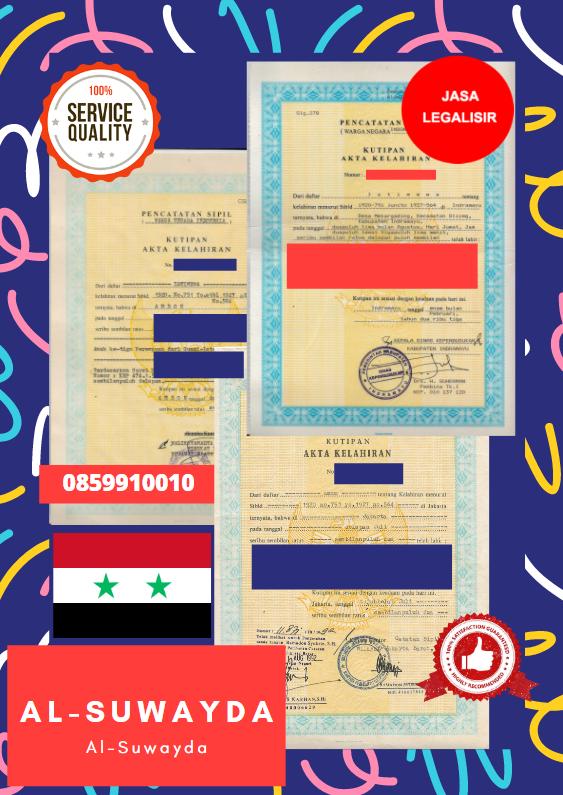 Jasa Legalisir Akta Lahir Indonesia Di Al-Suwayda - Suriah || 08559910010