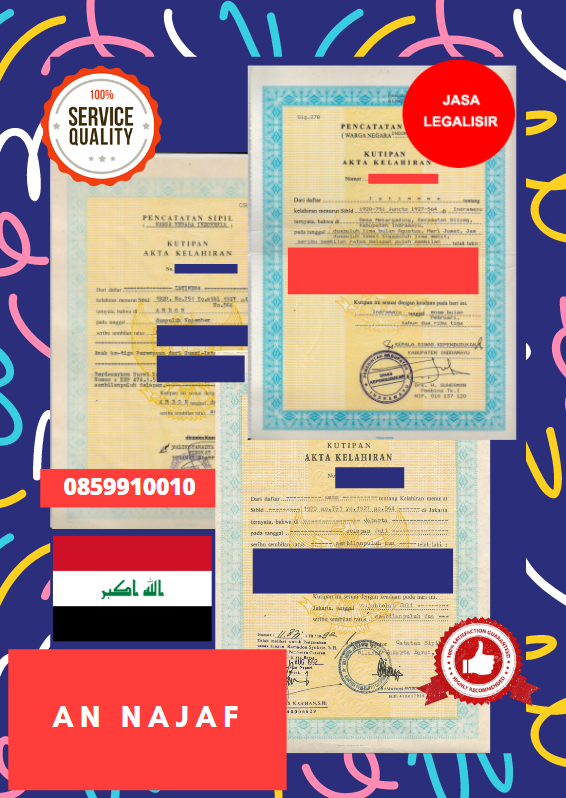 Jasa Legalisir Akta Lahir Indonesia Di An Najaf - Irak || 08559910010