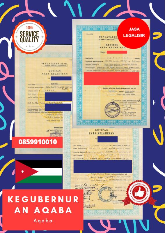 Jasa Legalisir Akta Lahir Indonesia Di Aqaba - Yordania    08559910010