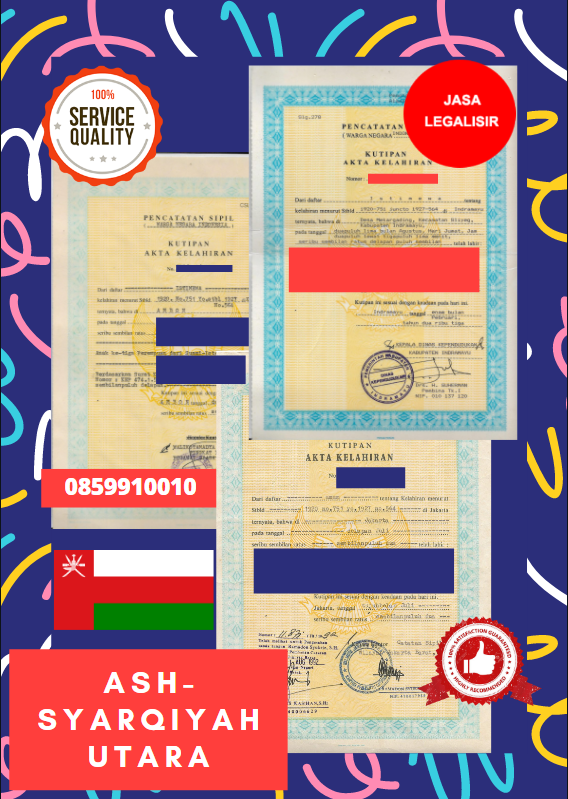 Jasa Legalisir Akta Lahir Indonesia Di Ash-Syarqiyah Utara - Oman || 08559910010