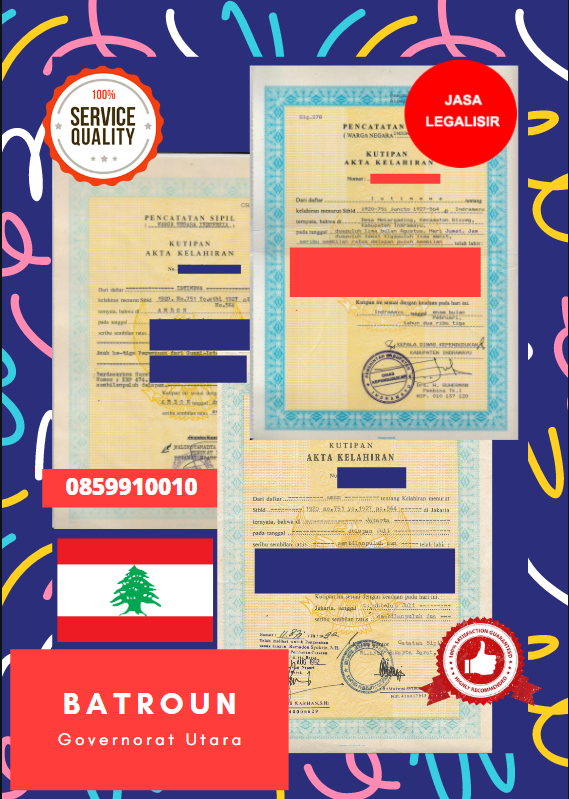 Jasa Legalisir Akta Lahir Indonesia Di Batroun - Lebanon || 08559910010
