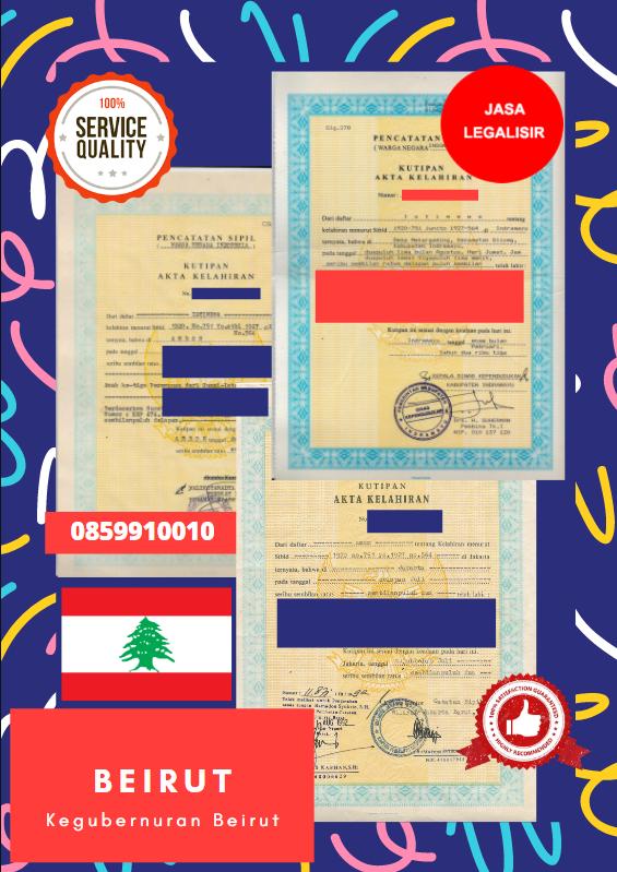 Jasa Legalisir Akta Lahir Indonesia Di Beirut - Lebanon    08559910010