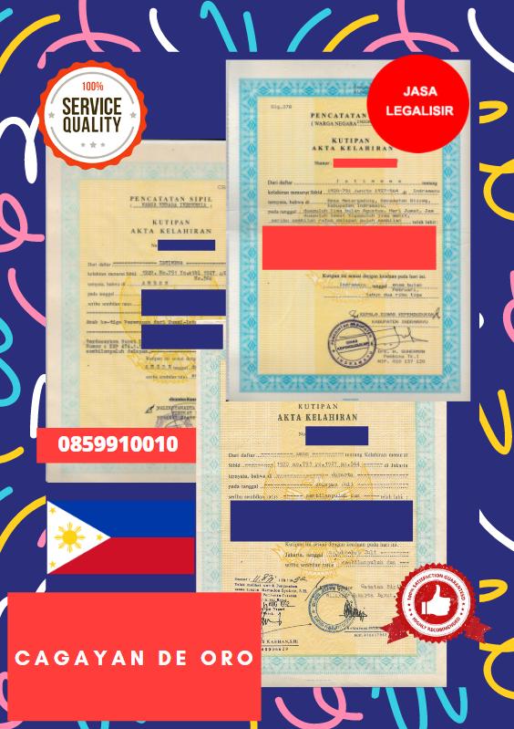Jasa Legalisir Akta Lahir Indonesia Di Cagayan de Oro - Filipina    08559910010