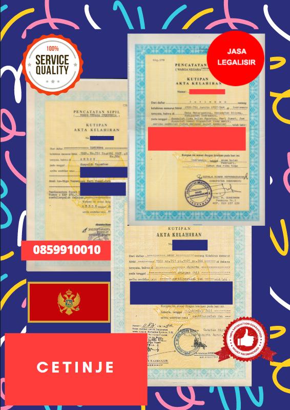 Jasa Legalisir Akta Lahir Indonesia Di Cetinje - Montenegro || 08559910010