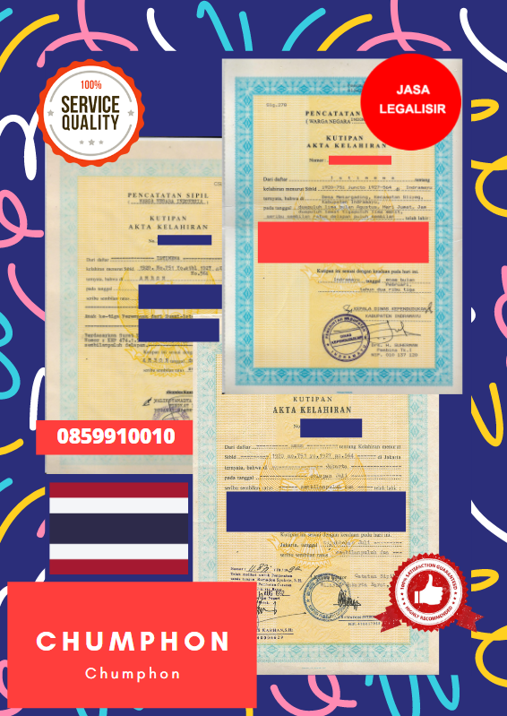Jasa Legalisir Akta Lahir Indonesia Di Chumphon - Thailand || 08559910010