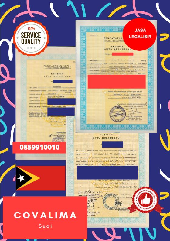 Jasa Legalisir Akta Lahir Indonesia Di Covalima - Timor Leste || 08559910010