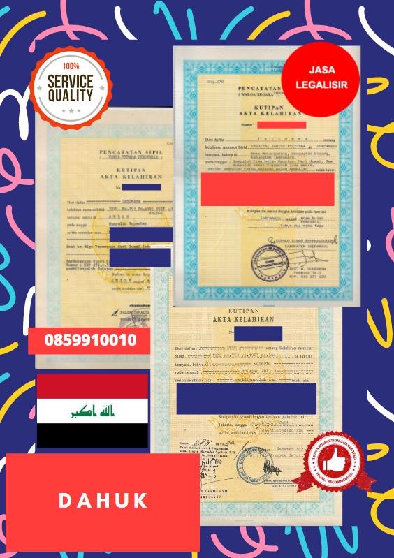 Jasa Legalisir Akta Lahir Indonesia Di Dahuk - Irak || 08559910010