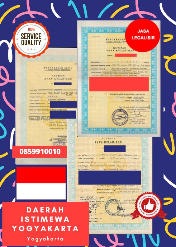 Jasa Legalisir Akta Lahir Indonesia Di Daerah Istimewa Yogyakarta - Indonesia || 08559910010