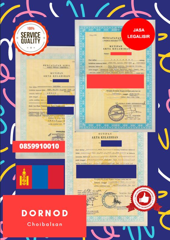 Jasa Legalisir Akta Lahir Indonesia Di Dornod - Mongolia || 08559910010