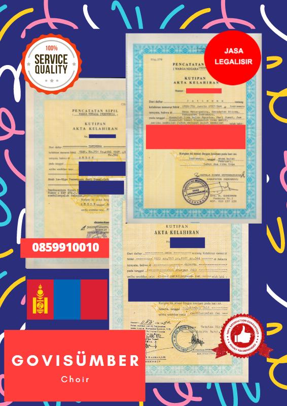 Jasa Legalisir Akta Lahir Indonesia Di Govisümber - Mongolia || 08559910010