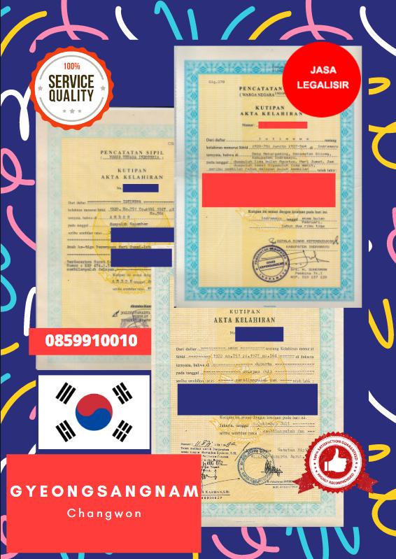Jasa Legalisir Akta Lahir Indonesia Di Gyeongsangnam - Korea Selatan || 08559910010