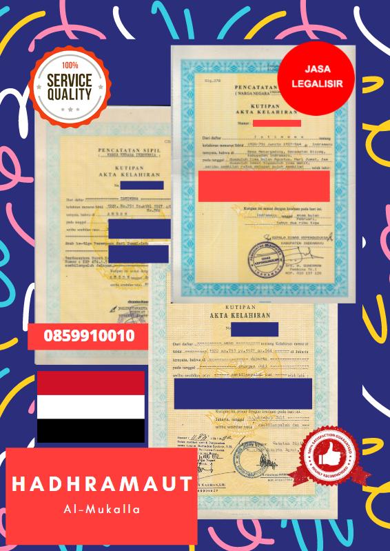 Jasa Legalisir Akta Lahir Indonesia Di Hadhramaut - Yaman    08559910010