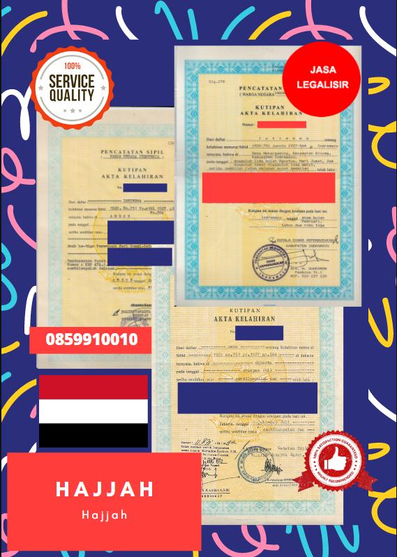 Jasa Legalisir Akta Lahir Indonesia Di Hajjah - Yaman || 08559910010