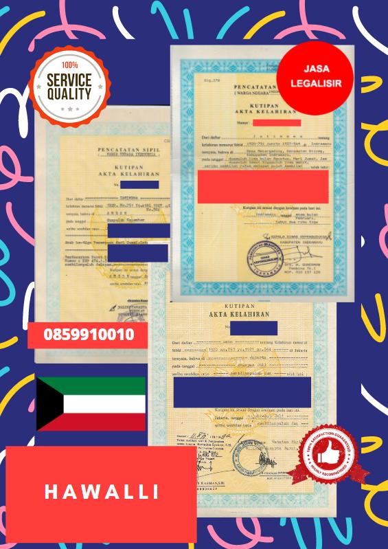Jasa Legalisir Akta Lahir Indonesia Di Hawalli - Kuwait || 08559910010
