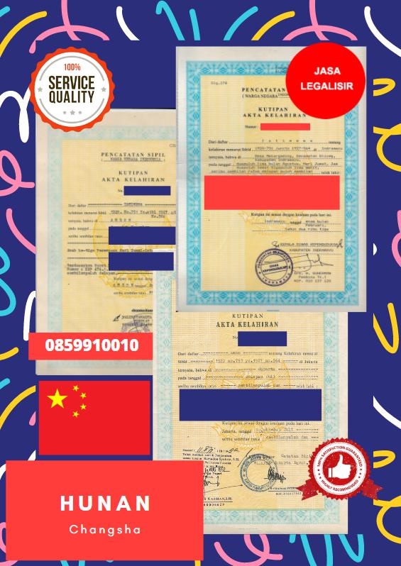 Jasa Legalisir Akta Lahir Indonesia Di Hunan - Tiongkok || 08559910010