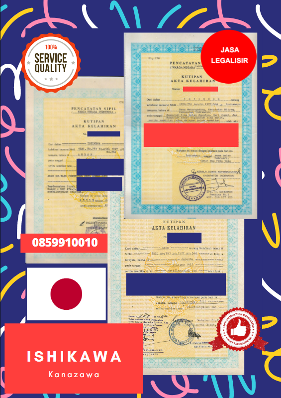 Jasa Legalisir Akta Lahir Indonesia Di Ishikawa - Jepang    08559910010