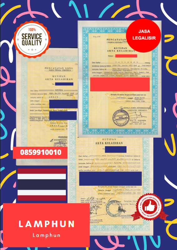 Jasa Legalisir Akta Lahir Indonesia Di Lamphun - Thailand || 08559910010